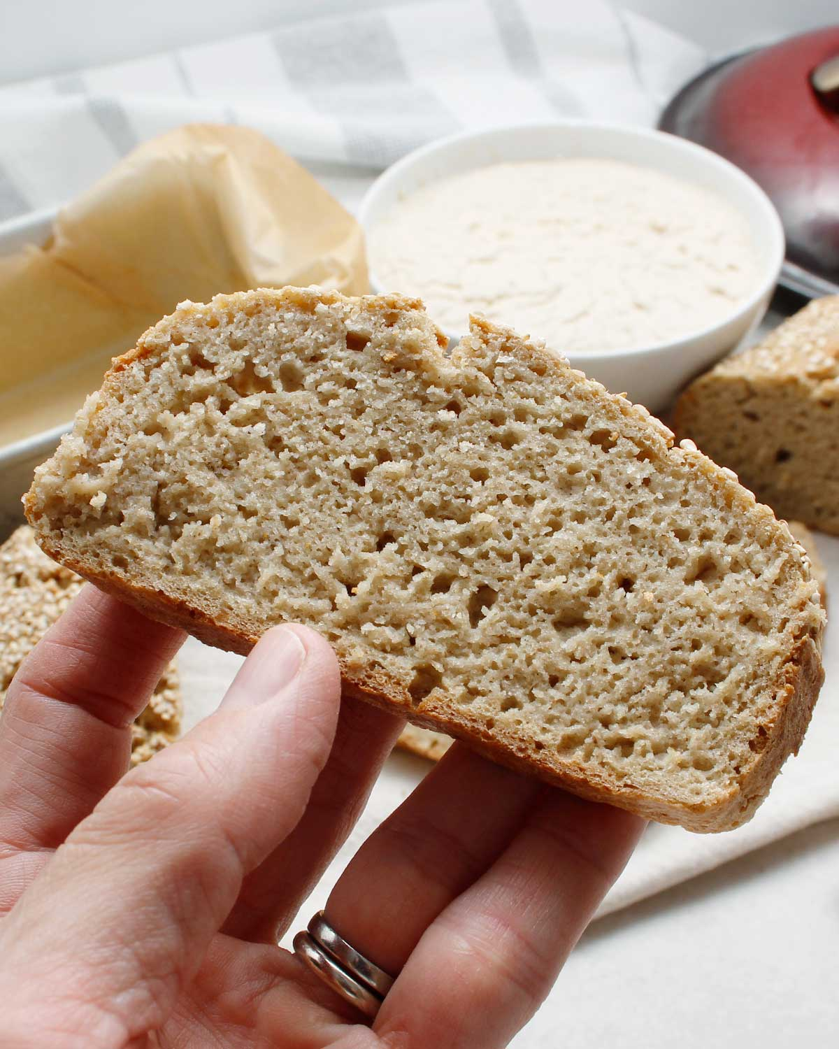 A gluten-free sourdough slice prepared with only 4 ingredients.