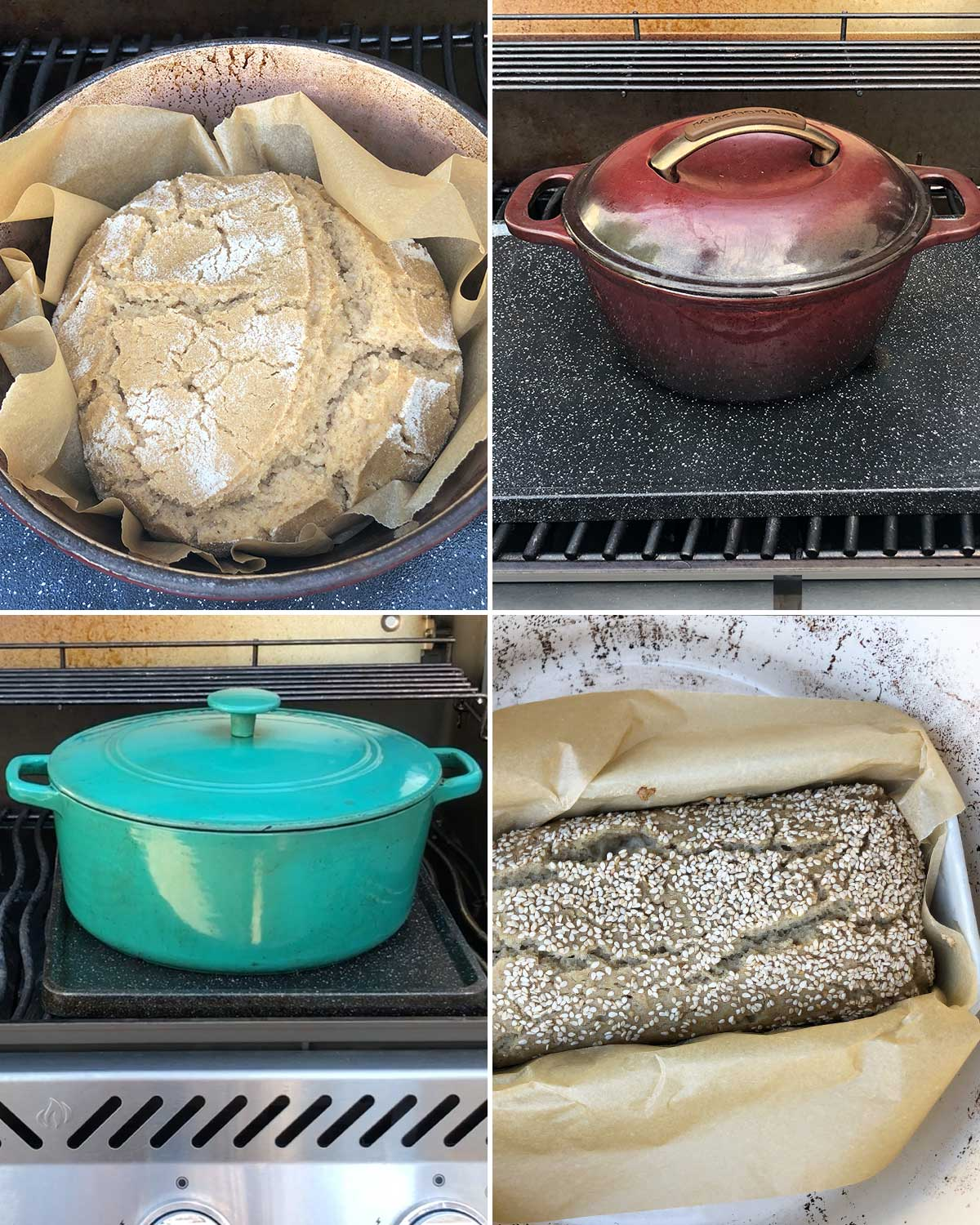 Example of Dutch oven in BBQ for bread baking.