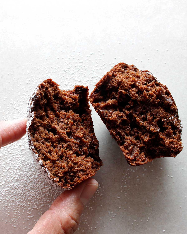 Inside of gluten-free chocolate cupcake.