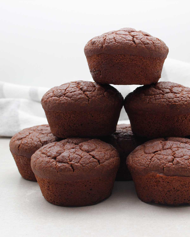 A stack of gluten-free vegan chocolate cupcakes
