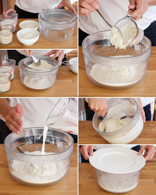 Mixing GF sourdough starter with flour and hemp milk.