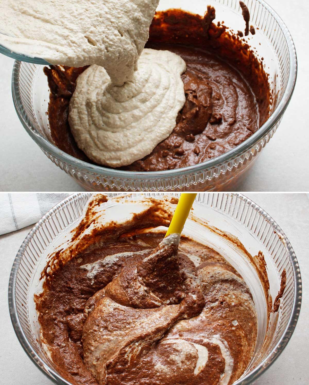 GF sourdough starter poured into chocolate cupcake mixture.
