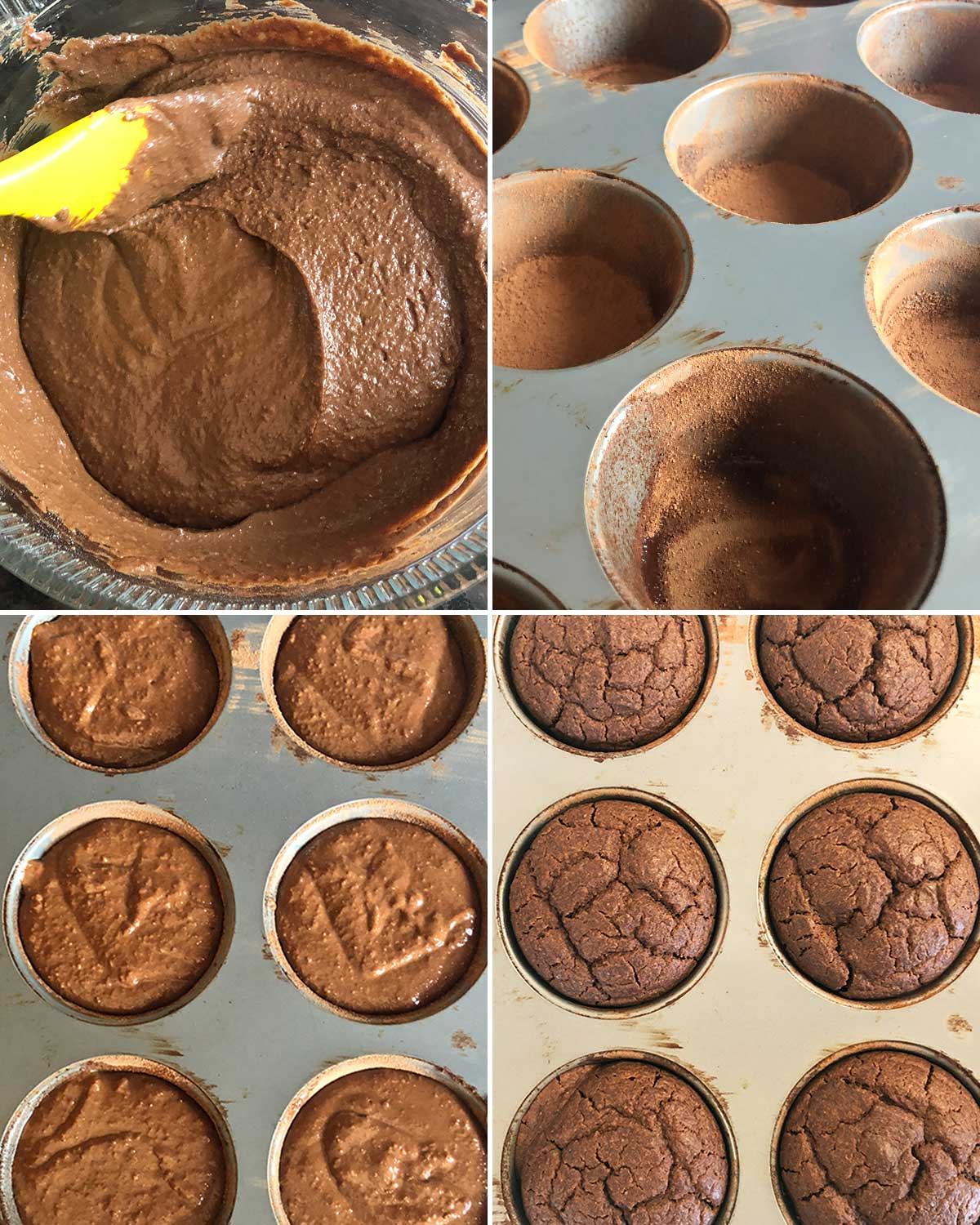 Before and after pictures of gluten-free chocolate cupcakes in pan