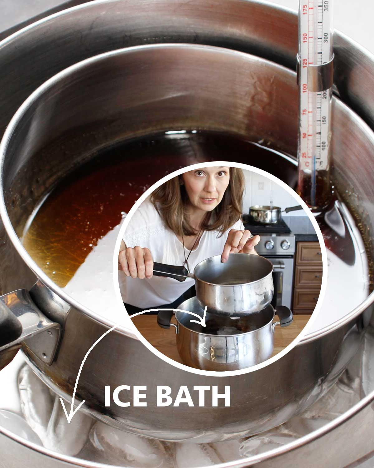 Ice bath: 2 saucepots, one filled with ice cubes to help cool the boiled maple syrup to make hand-stirred maple spread.