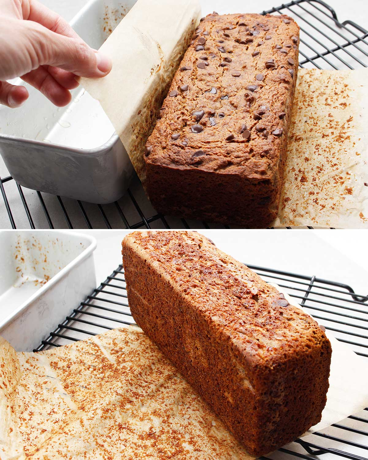 Showing how to remove the parchment paper once the grain-free banana bread is baked and cooled for 10 minutes. Cool completely once you remove the parchment paper.