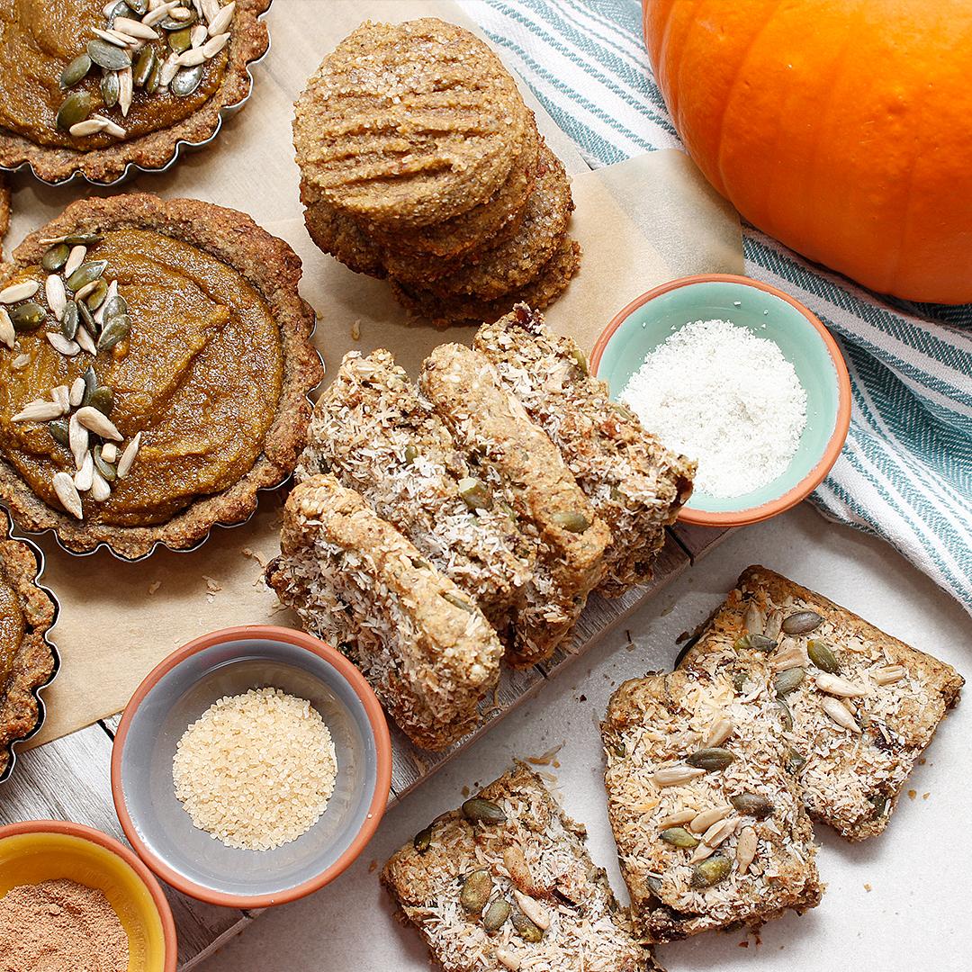 Tasty grain-free pumpkin bars, cookies and tarts. All gluten-free, grain-free and vegan.