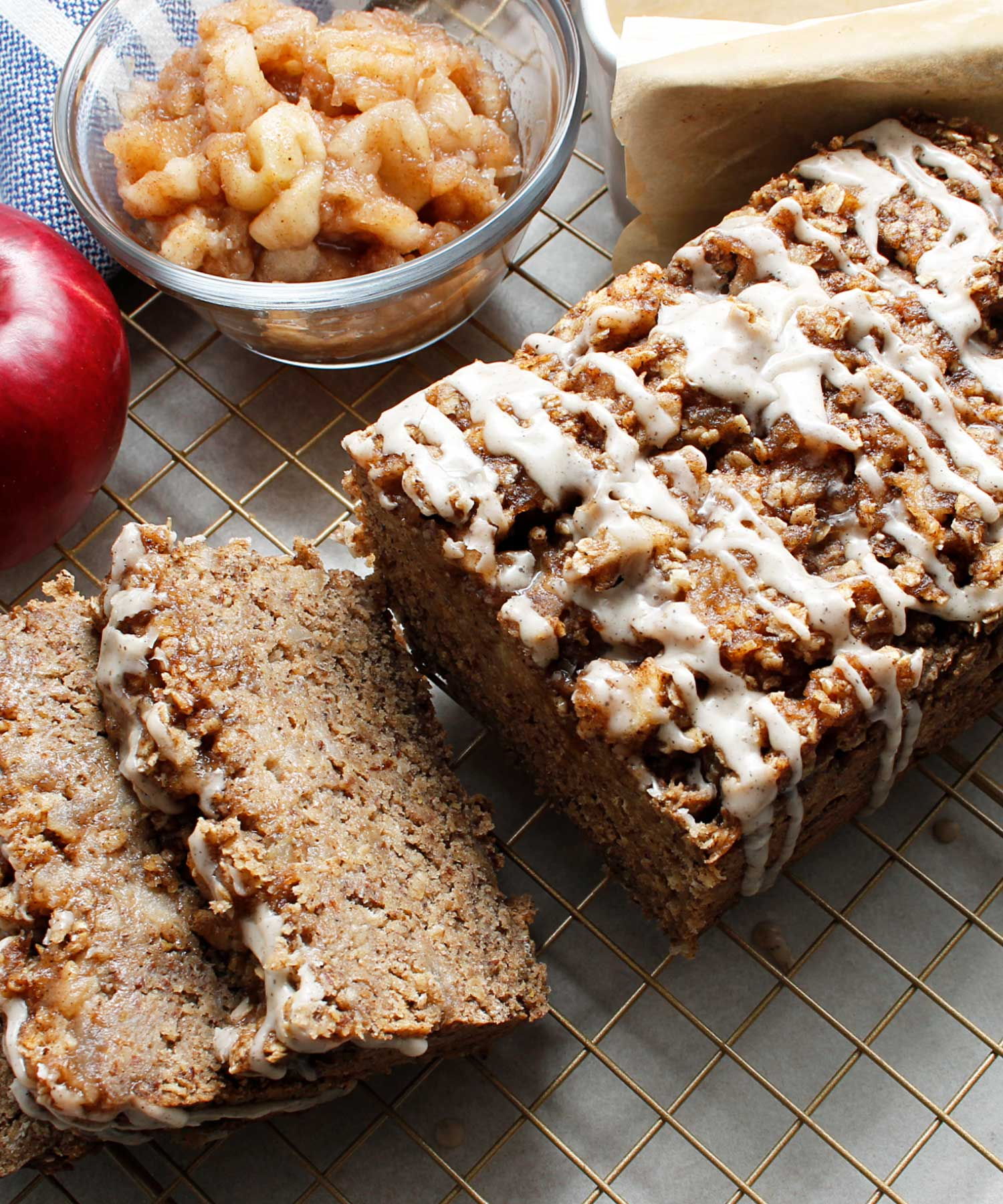 Sliced gluten-free and vegan apple crisp quick bread