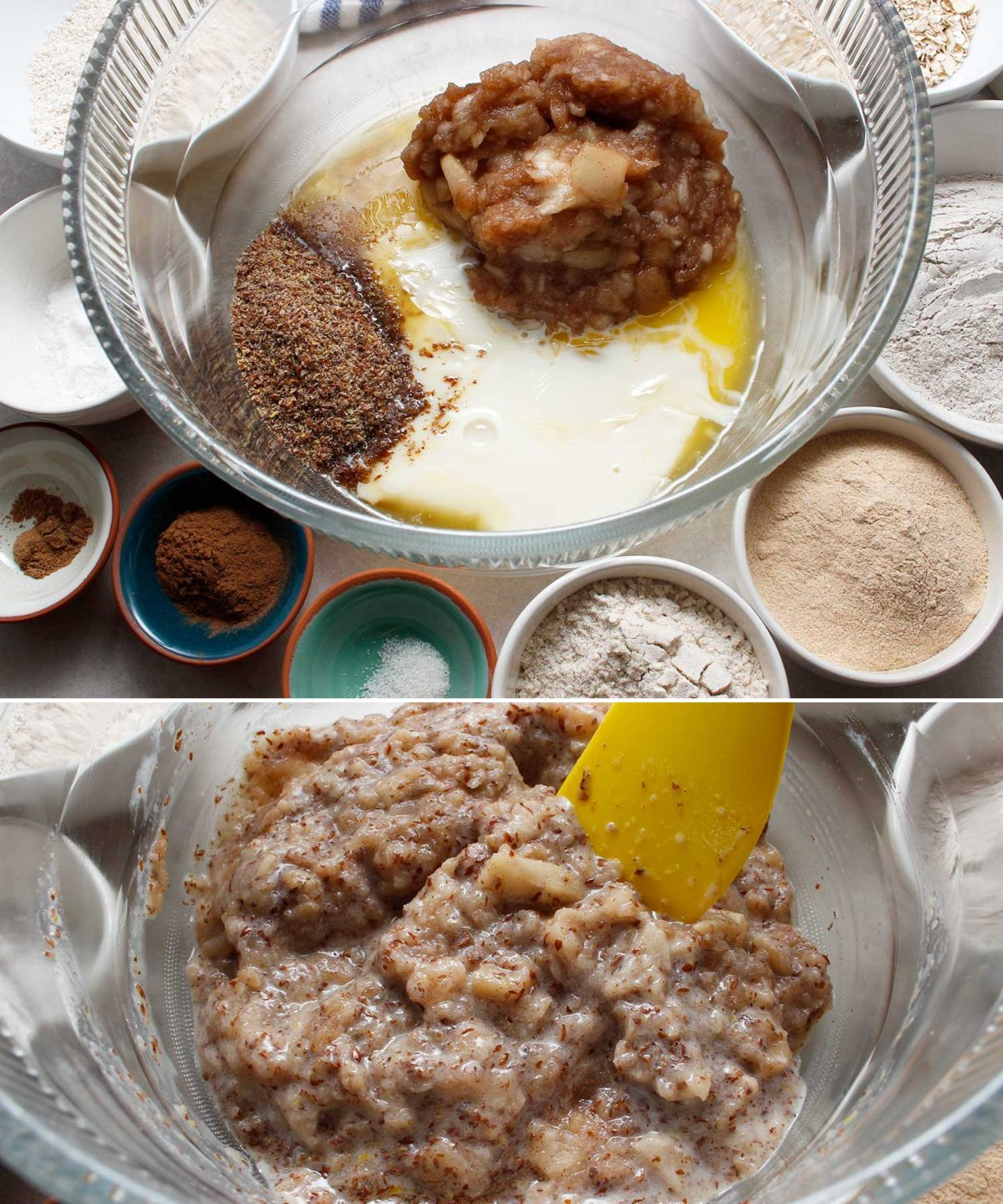 Ingredients such as flours, coconut sugar and spices used in gluten-free, vegan apple crisp bread.
