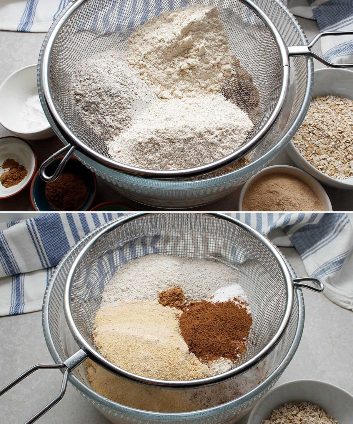 A sifter is placed overtop a large mixing bowl to sift the dry ingredients for an apple crisp bread recipe.