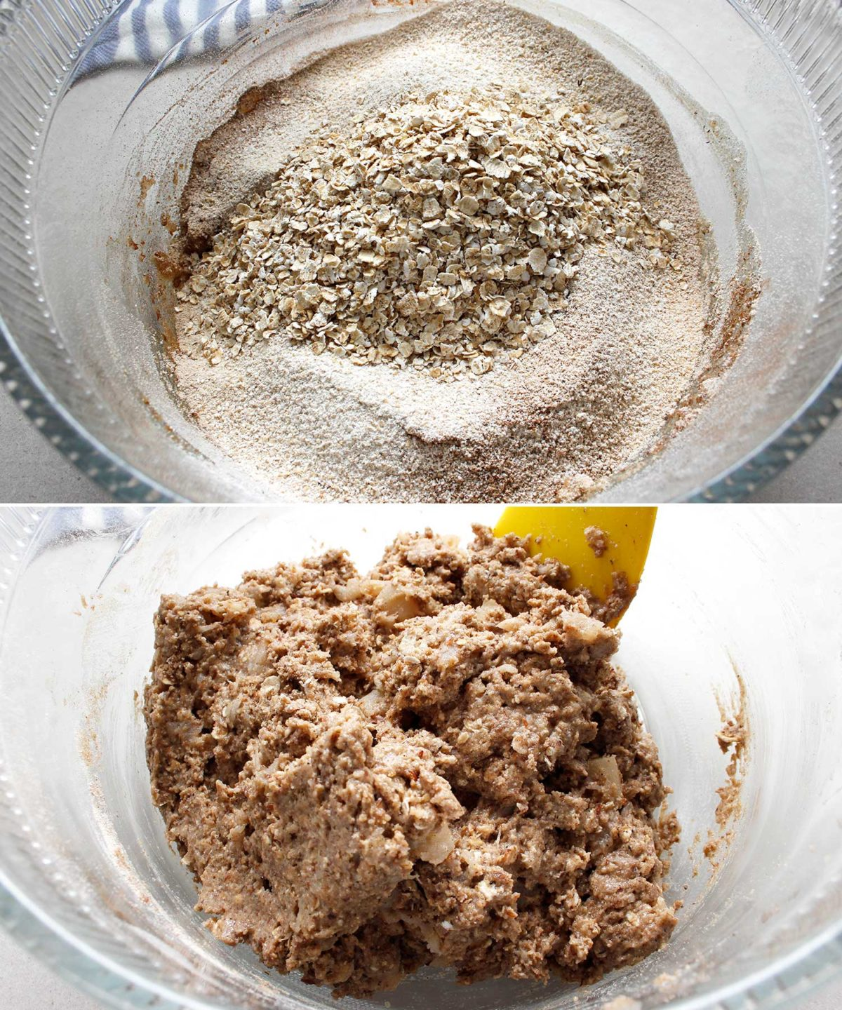 Showing the texture of the apple crisp bread dough mixture after it's been mixed.