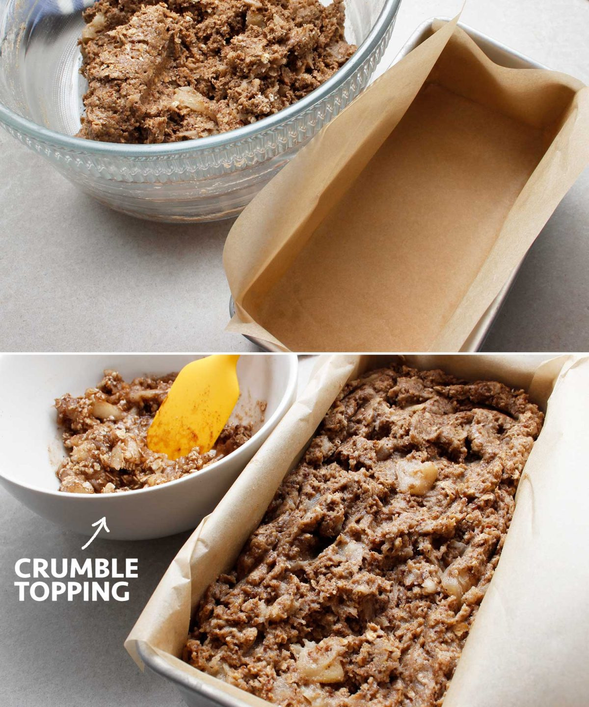 The apple crisp bread mixture transferred to parchment-lined bread pan just before the addition of the apple crisp crumble topping.