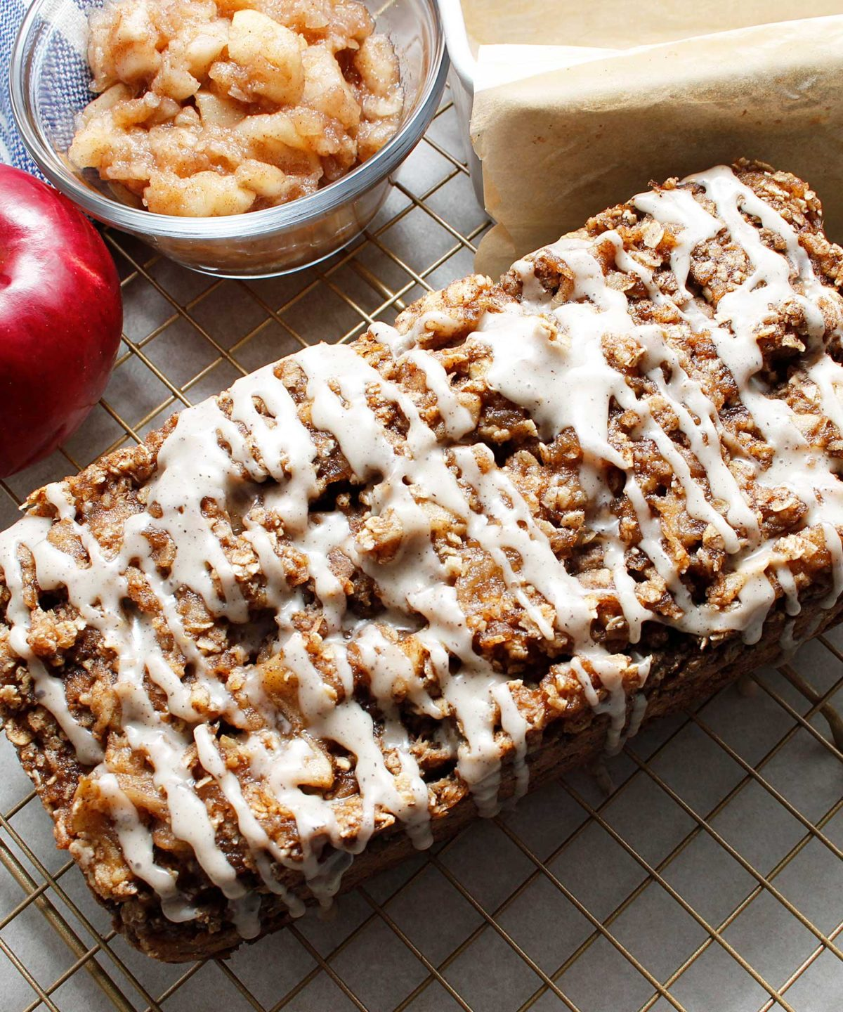 The finished apple crisp bread with the most perfect drizzle of sugar and spice.