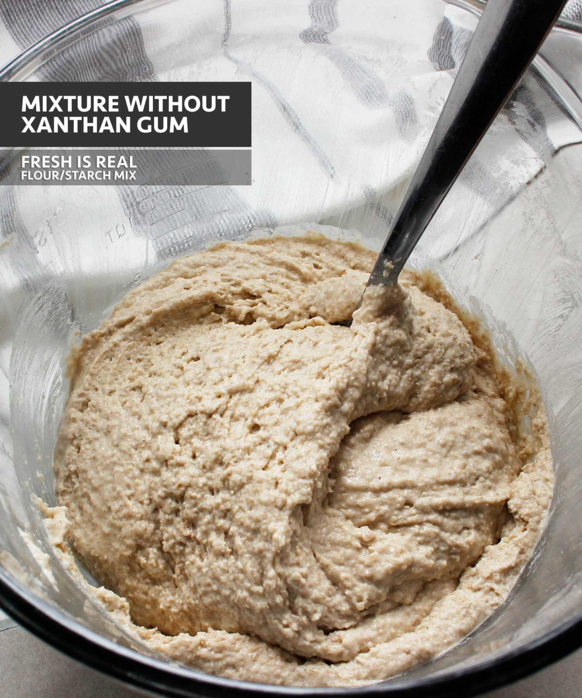 Yeast-free gluten-free vegan dough mixture prepared with a custom mix of GF starches and flours with no xanthan gum.