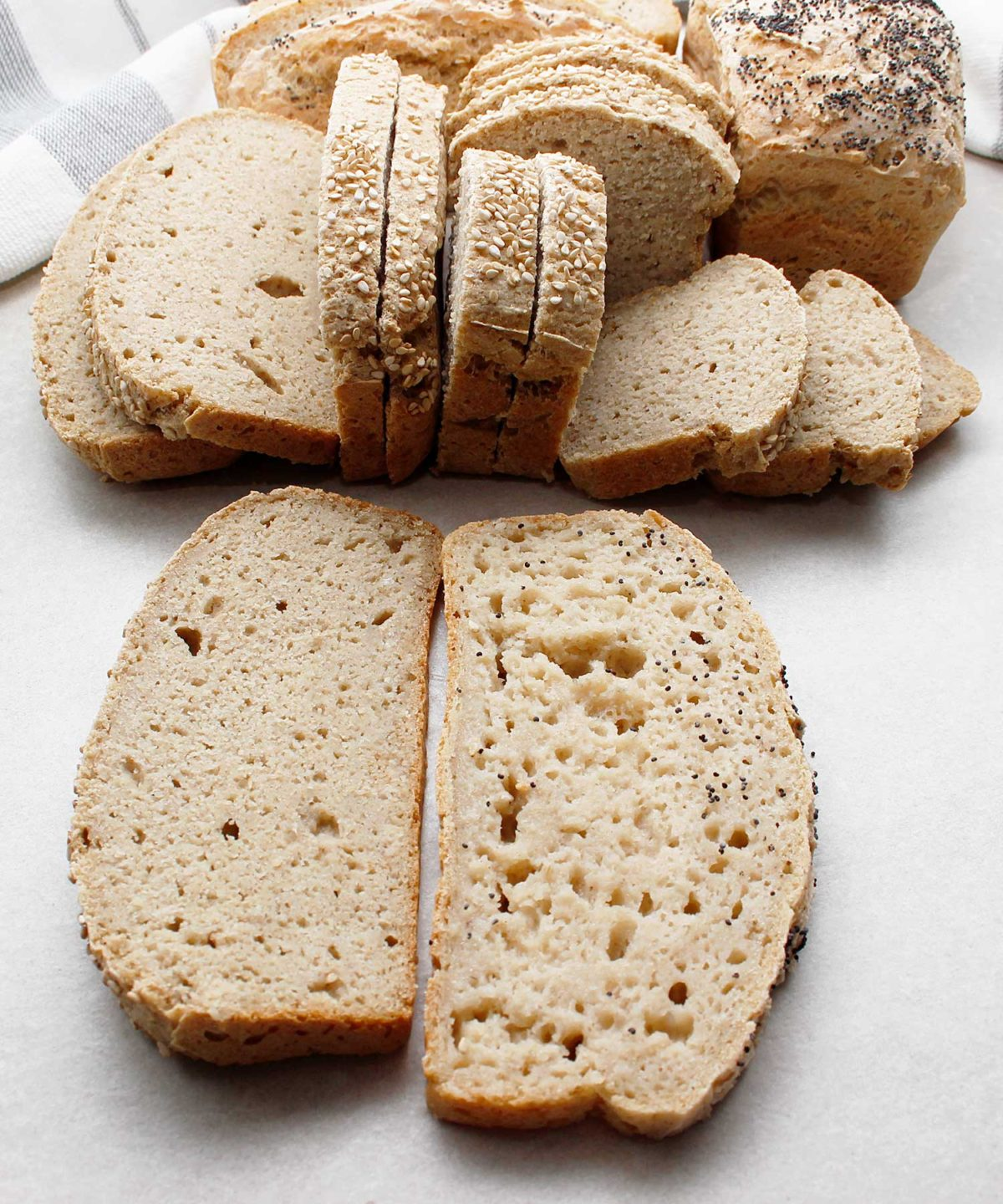 Comparing yeast-free, gluten-free, vegan bread slices. One with xanthan gum and one without.