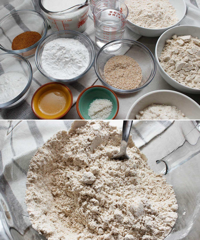 Ingredients for yeast-free, GF, vegan bread recipe.