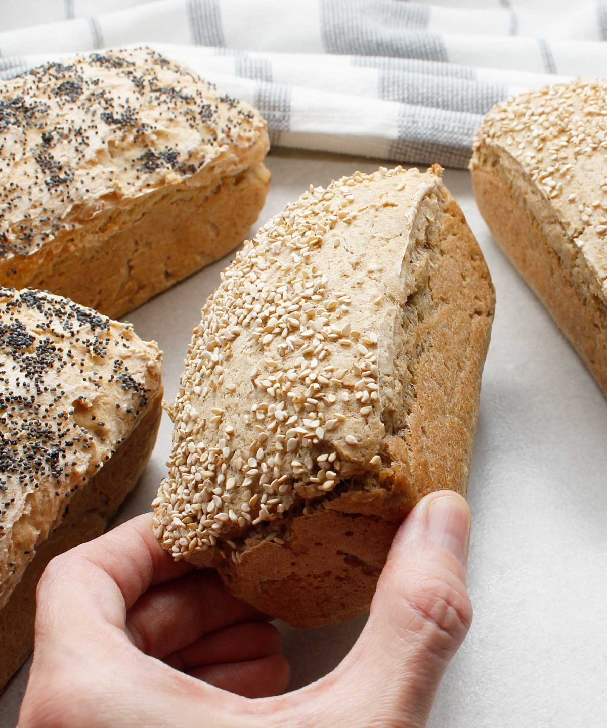 Showing the final size of a mini yeast-free, gluten-free, vegan loaves.