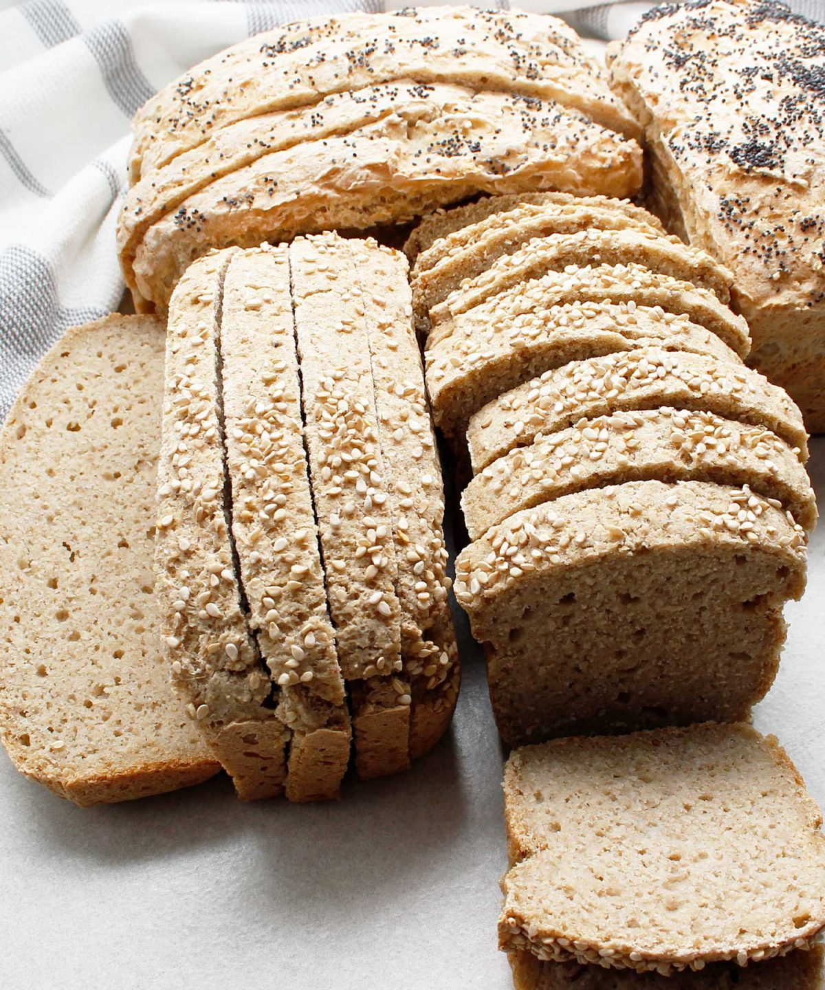 Sliced mini loaves of yeast-free, gluten-free and vegan bread.