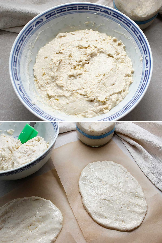 GF sourdough naan dough mixture in bowl. How to prepare the naan dough for baking.