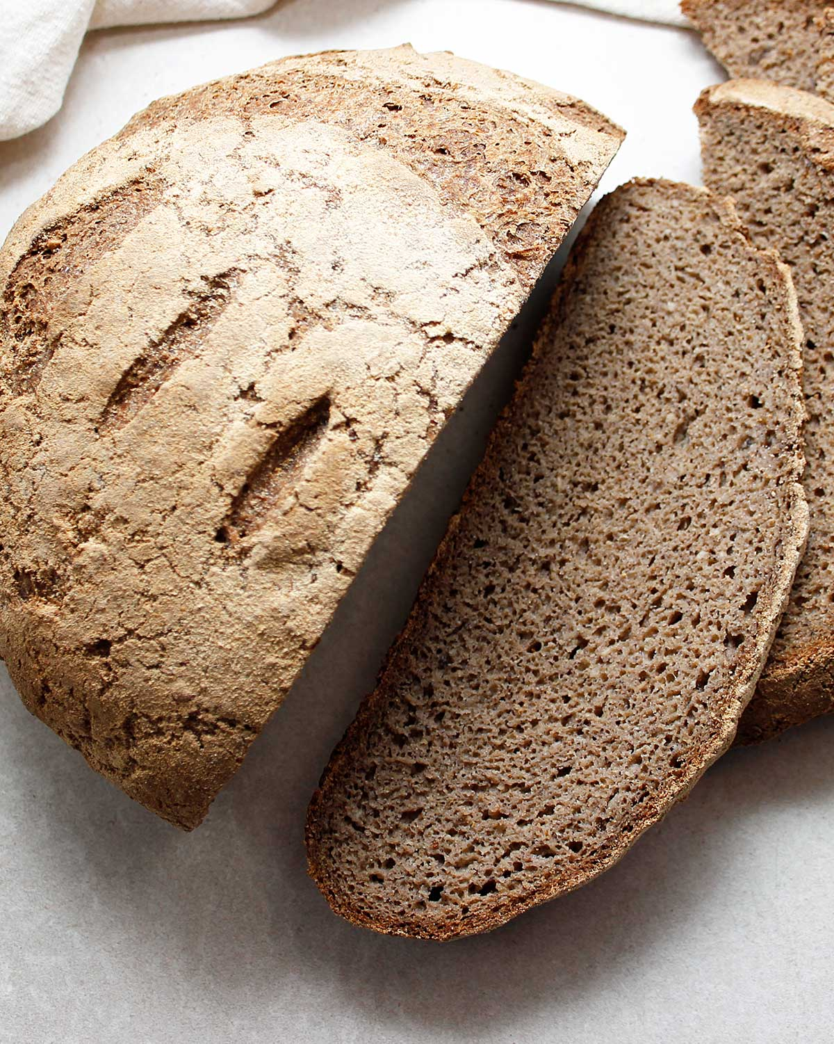 Sliced GF, grain-free and vegan sourdough bread