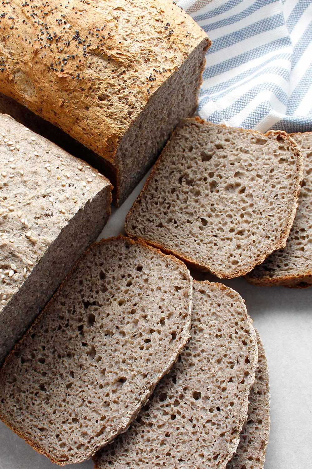 Sliced Buckwheat Hemp Bread. Showing the perfect crumb and texture.
