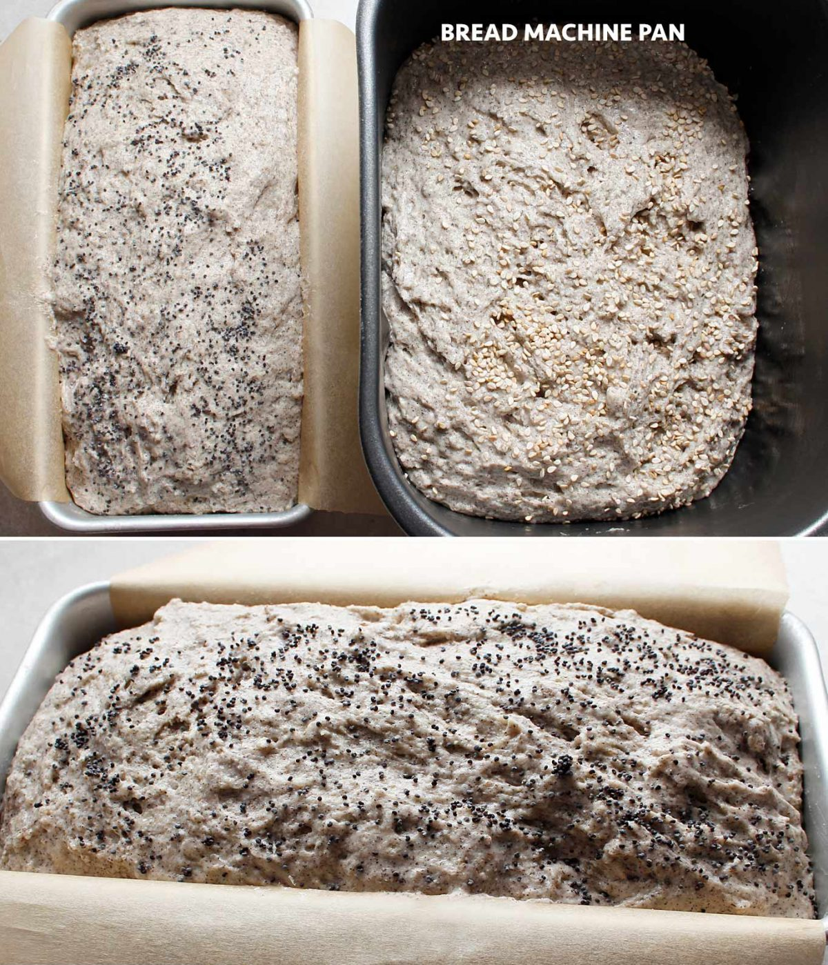 The GF vegan bread dough mixture in the pan for the oven and the pan for the bread machine.
