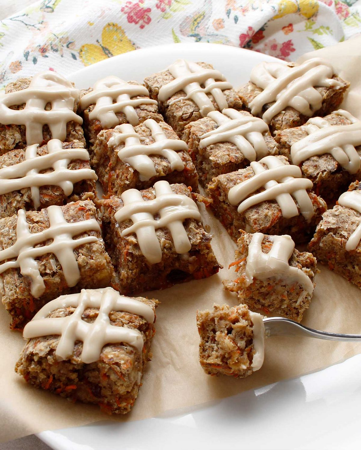 Carrot Cake Bars (GF/V) with maple icing