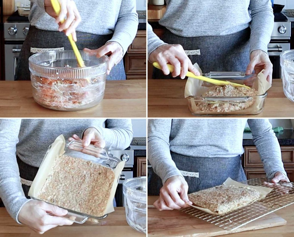 Process photos to make the Carrot Cake Bars