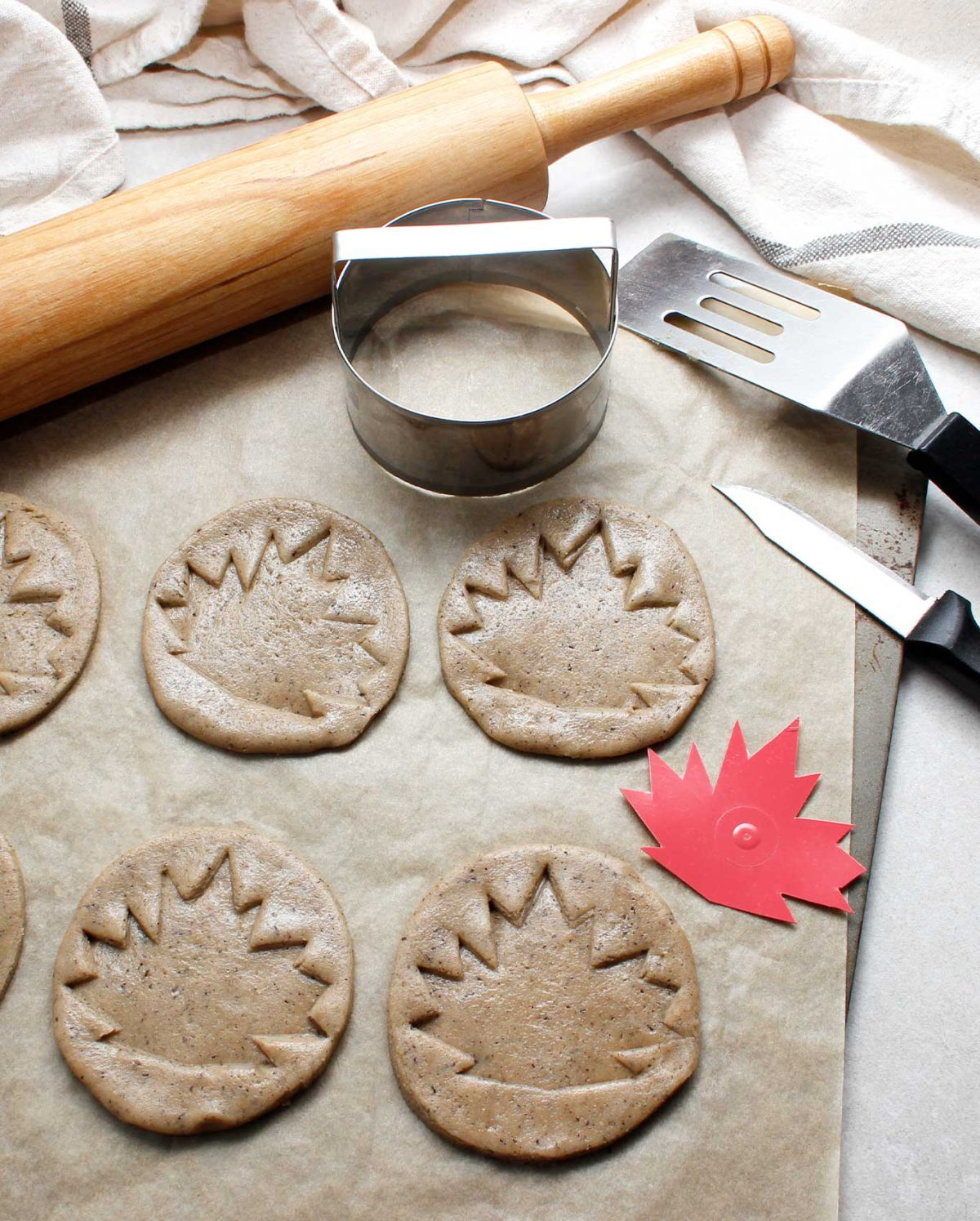 Perfectly shaped GF Vegan Maple Cookies ready to bake