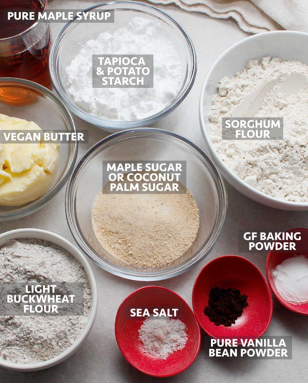 Ingredients to make GF Vegan Maple Cookies