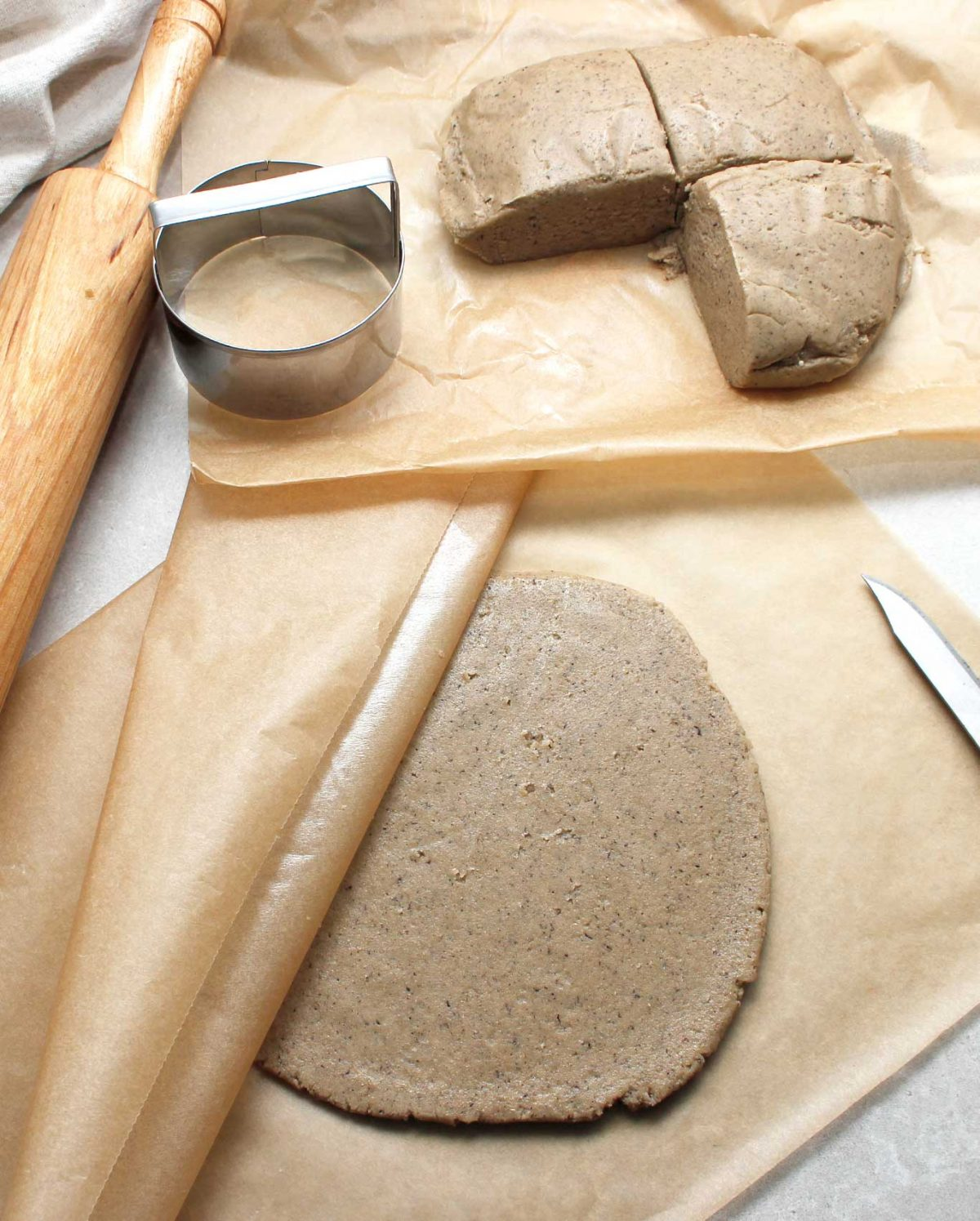 Rolled out GF dough to make cookies