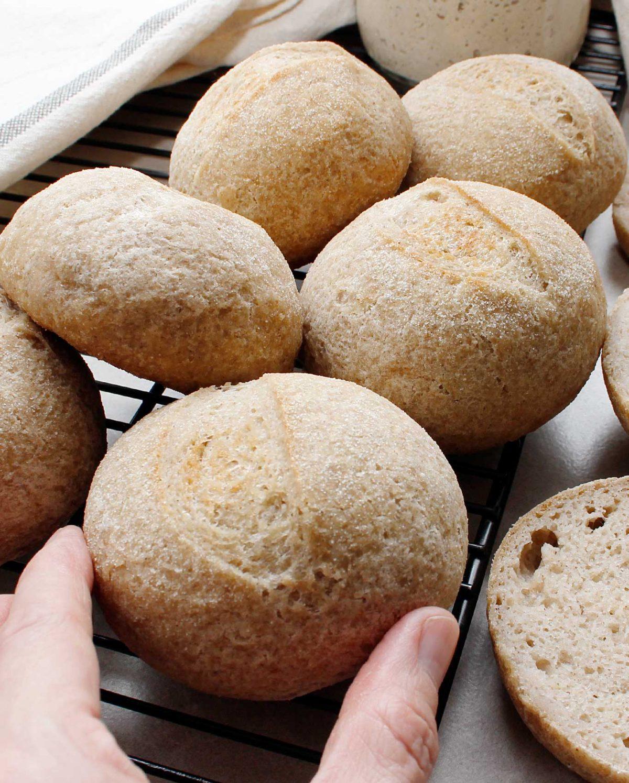 Small gluten-free sourdough bread roll.