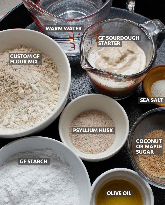 Ingredients to make GF Sourdough Calzones.