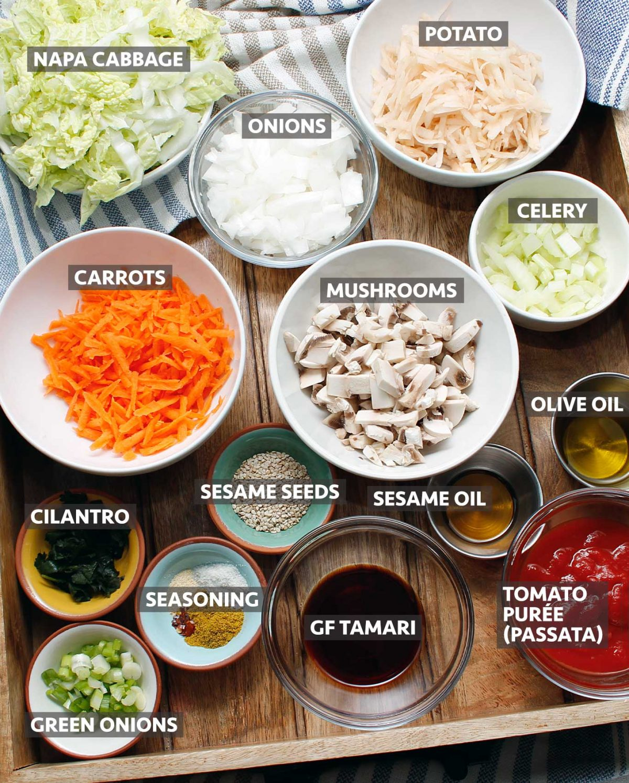 Ingredients to make a vegan and GF calzone filling.