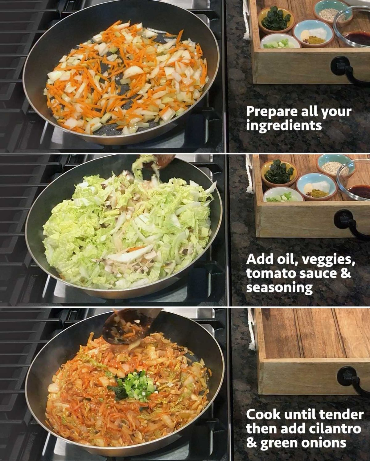 - Steps to prepare an allergen-friendly vegetable cooked mixture.