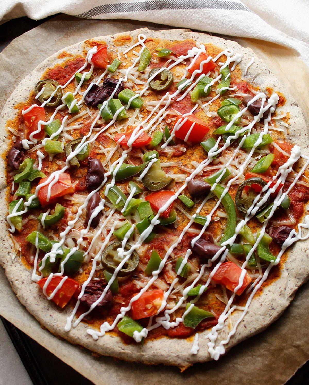Gorgeous and delicious grain-free plant-based sourdough pizza.