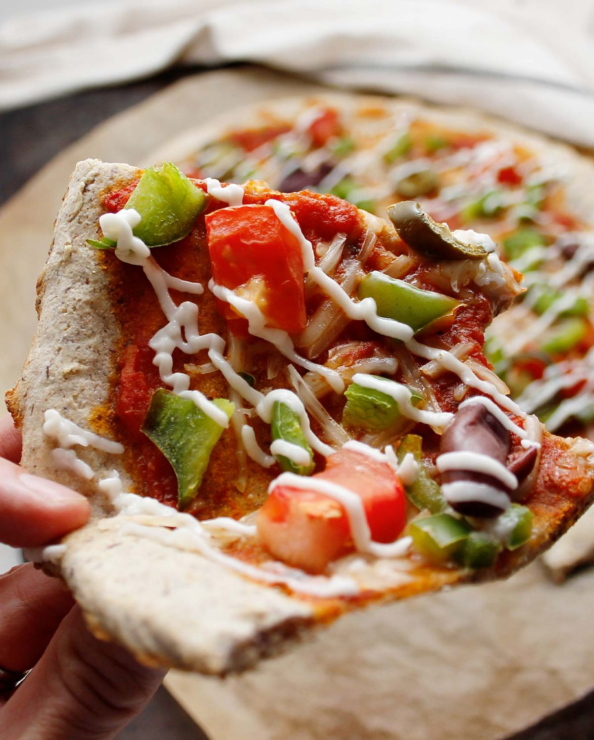 The thicker pizza crust edge makes it just right to hold and enjoy!