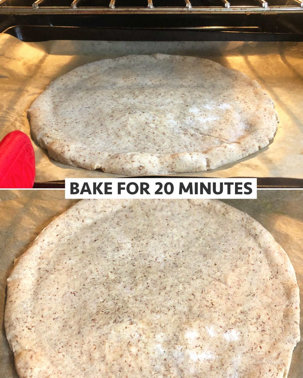Bake the grain-free crust for 20 minutes before adding your toppings.