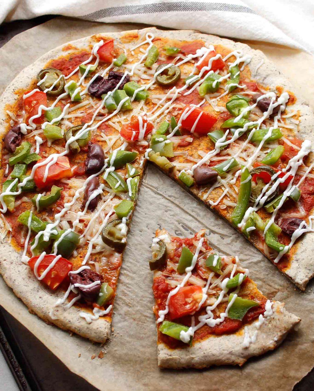 Perfect slice of grain-free plant-based/vegan sourdough pizza! Description for pictures: