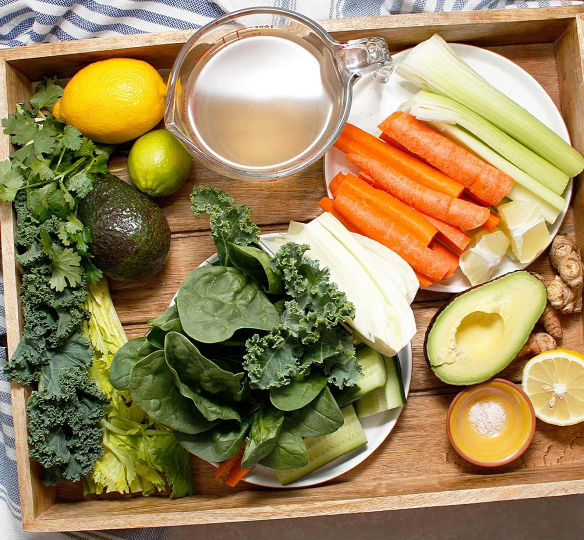 Tray of vegetables and fruit to make the best green juice!
